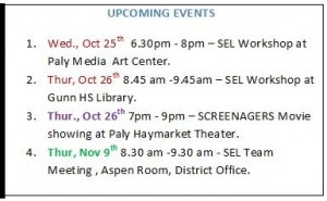 SEL upcoming events